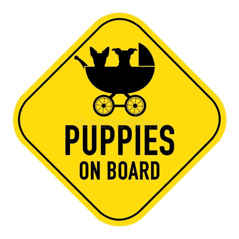 在标志上的狗 库存图片