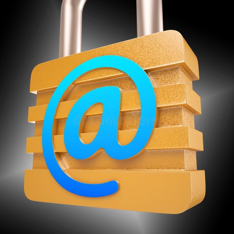 在标志挂锁显示安全互联网邮件 皇族释放例证