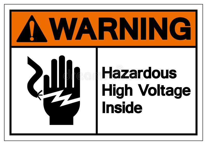 在标志标志,传染媒介例证,在白色背景标签的孤立里面的警告的危害高压 EPS10 皇族释放例证