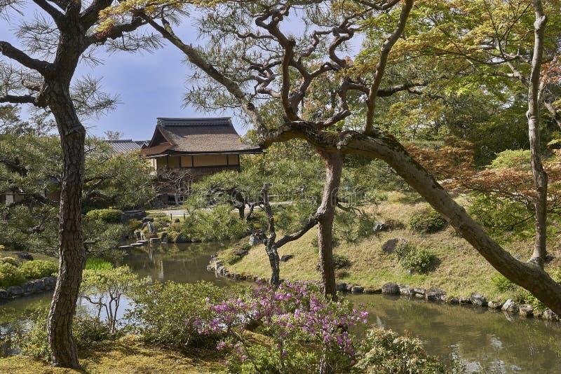 在树中和一个传统日本木房子掩藏的一个小湖 库存图片