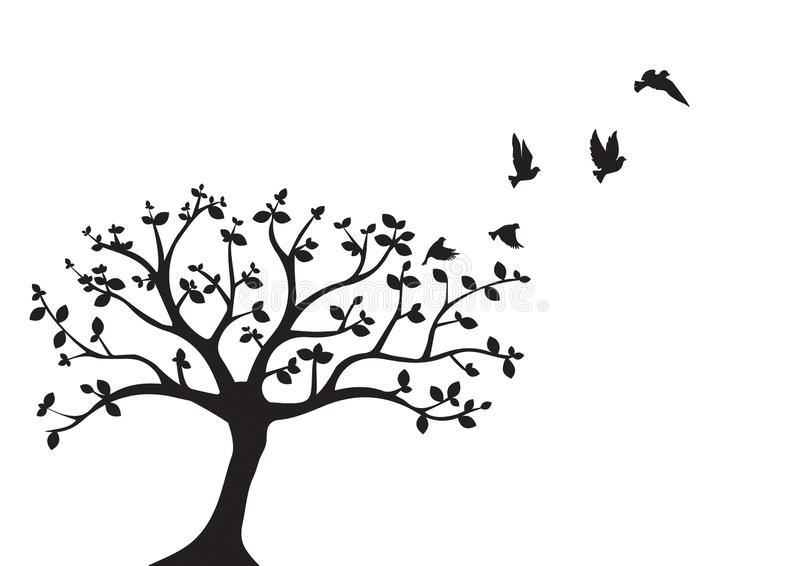在树传染媒介的飞鸟,墙壁标签,鸟现出轮廓,在分支,艺术设计,墙壁装饰的鸟 向量例证