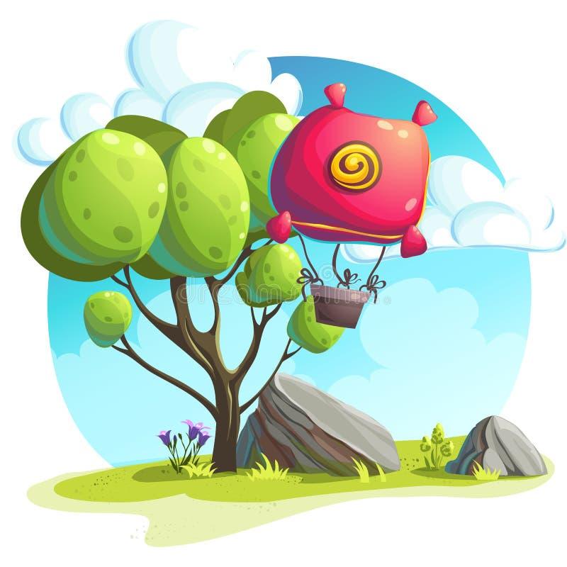在树和岩石背景的热空气气球  库存例证