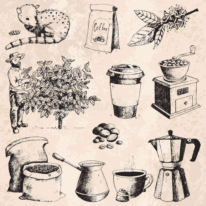 在树和葡萄酒图画的咖啡生产手拉的农夫采摘豆喝减速火箭的咖啡馆汇集剪影点心 库存例证