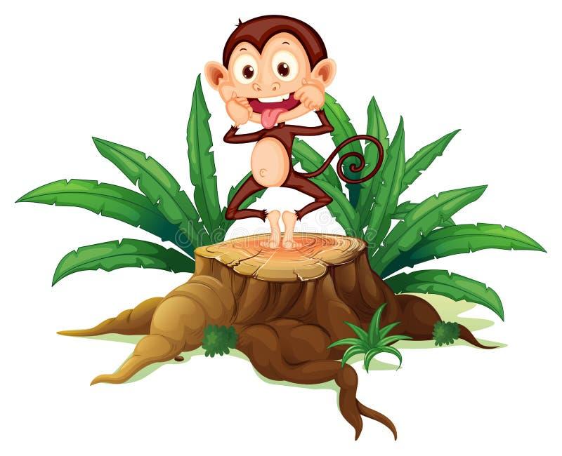 在树干上的一只傲慢的猴子 皇族释放例证