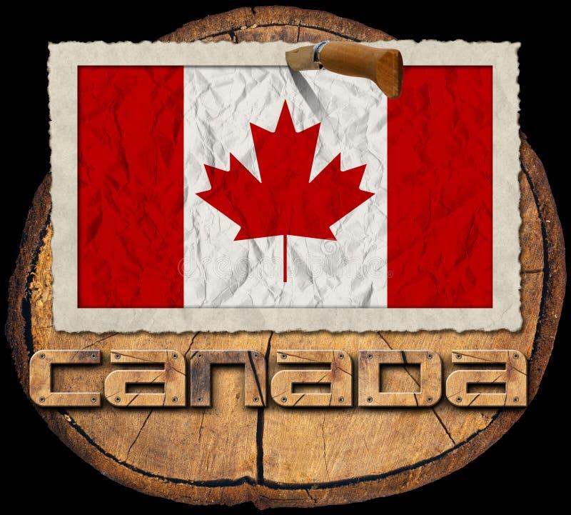 在树干的部分的加拿大旗子 向量例证