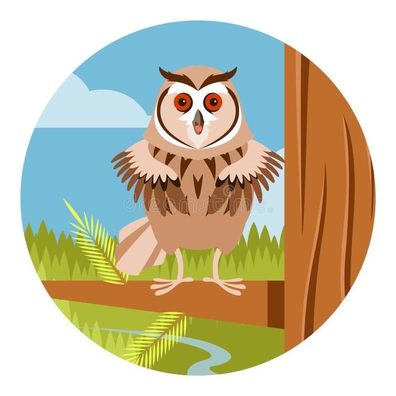 在树平的背景的愉快的猫头鹰 皇族释放例证