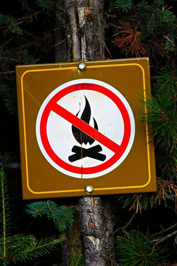 在树张贴的没有营火标志 免版税图库摄影