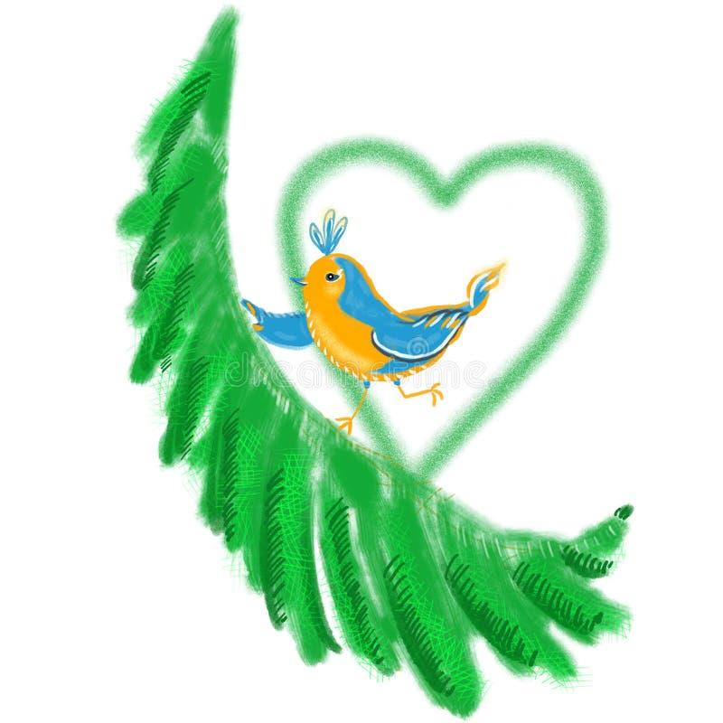 在树早午餐的欧洲知更鸟歌手 与绿色心脏的滑稽的卡通人物 图库摄影