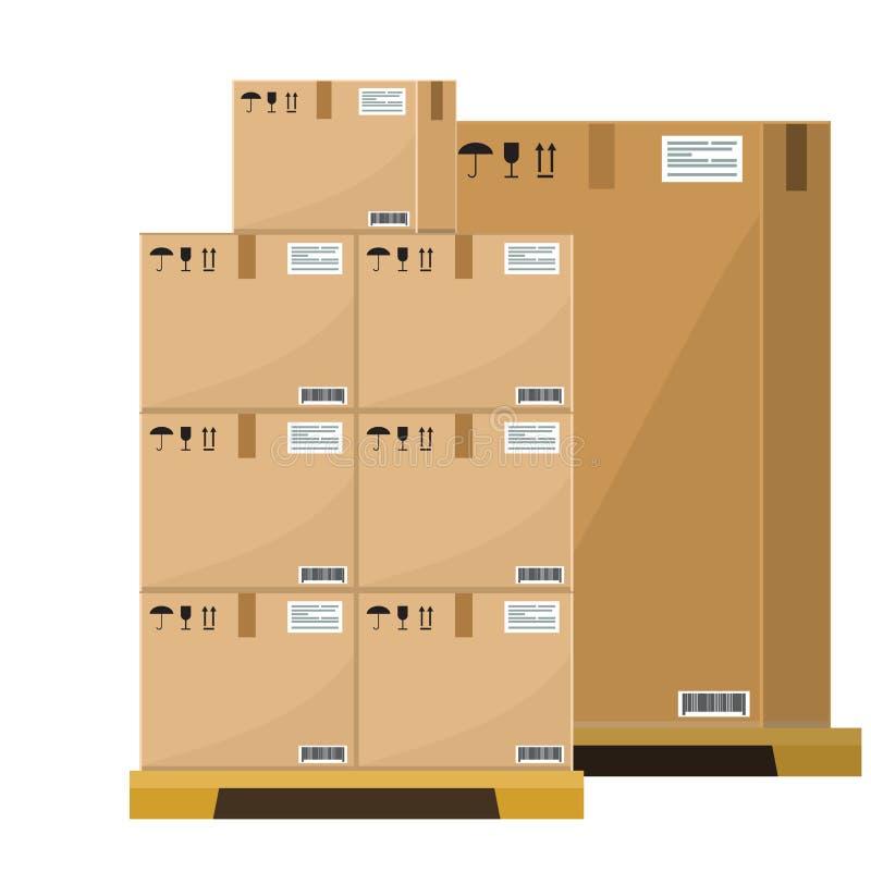 在树木繁茂的板台传染媒介例证,平和坚实样式仓库纸板小包箱子的不同的箱子堆积前面 皇族释放例证