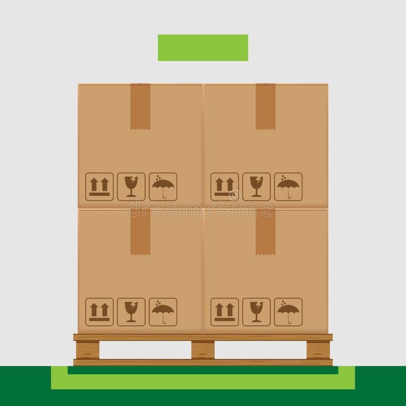 在树木繁茂的板台的条板箱箱子和产品安排概念的,堆纸板箱绿色表示的区域在工厂仓库里 库存例证