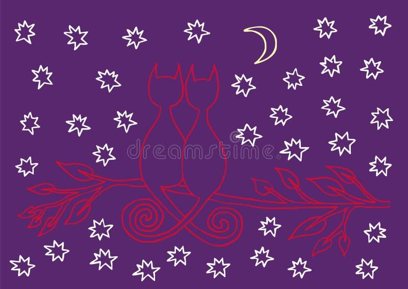 在树枝的两只动画片猫 以满天星斗的天空为背景 向量 皇族释放例证