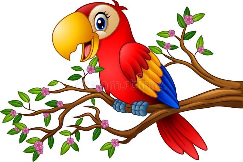 download 在树枝的动画片金刚鹦鹉 向量例证.