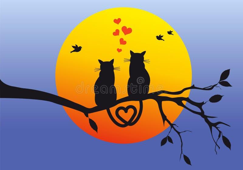在树枝,传染媒介的猫 向量例证