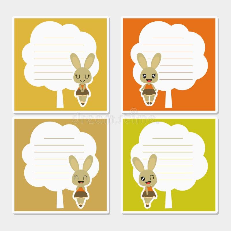 在树框架动画片例证的逗人喜爱的秋天兔宝宝秋天备忘录纸设计的 免版税库存照片