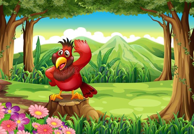 在树桩上的一只红色鸟在密林 向量例证
