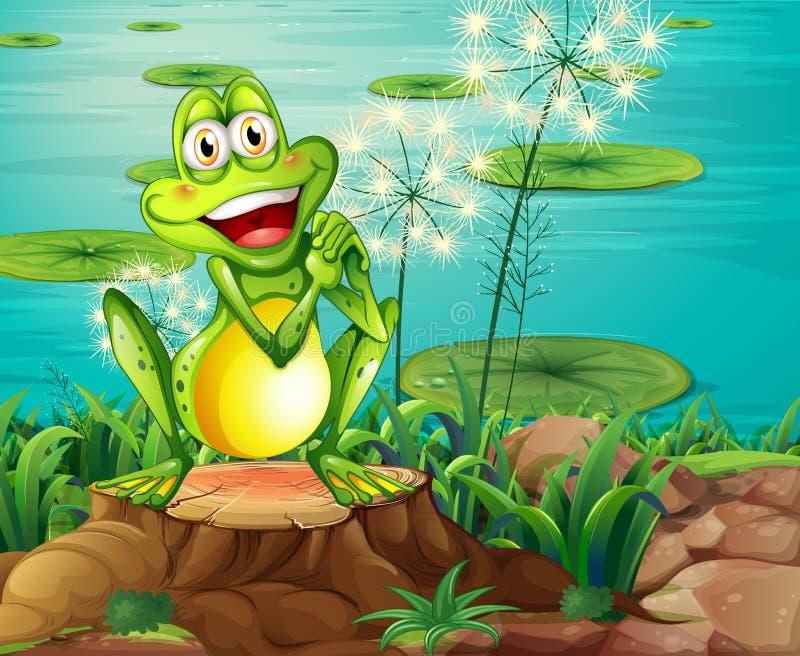 在树桩上的一只青蛙在池塘附近 皇族释放例证