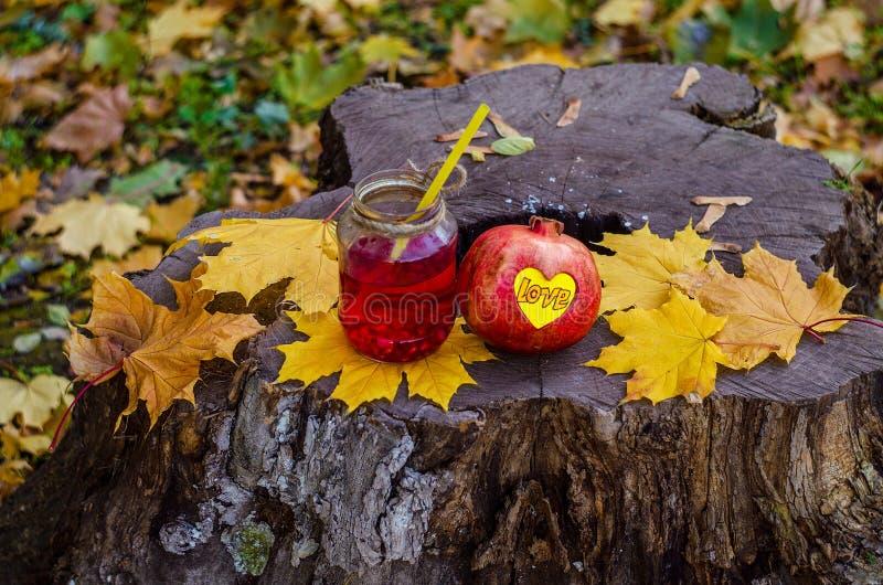 在树桩是石榴鸡尾酒健康不老长寿药  免版税库存图片