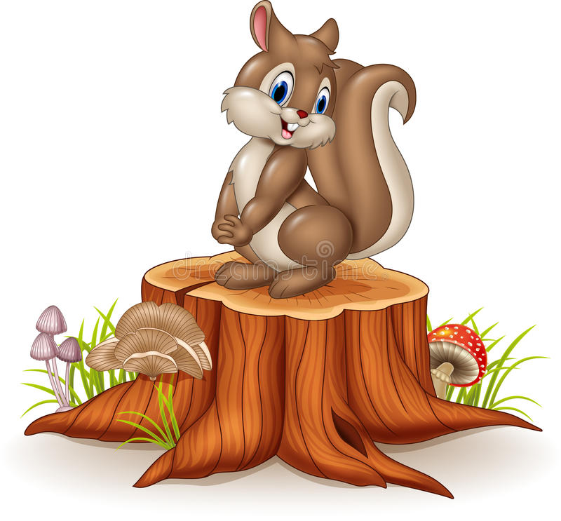 在树桩的动画片滑稽的灰鼠 库存例证