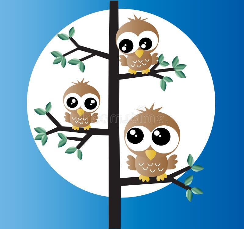 在树的三只甜小猫头鹰 向量例证