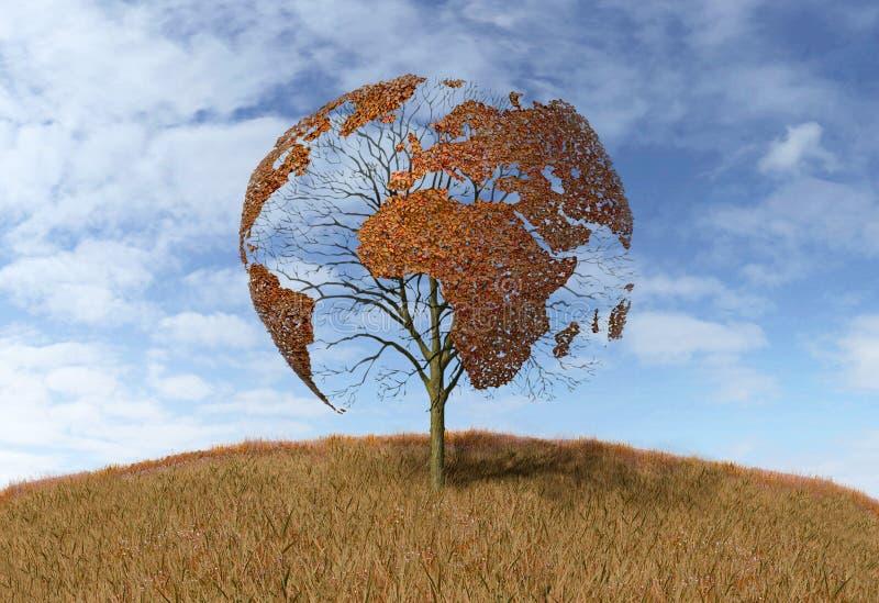 在树的世界地图 向量例证