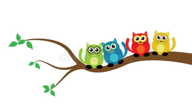 在树的动画片猫 向量例证