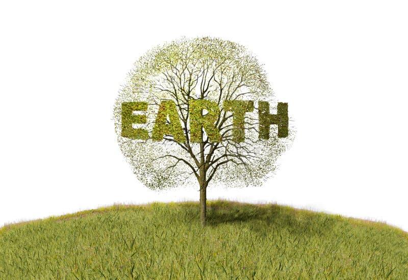 在树的地球文本 库存例证