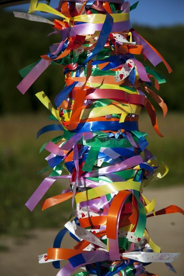 在树的多彩多姿的丝带 库存照片