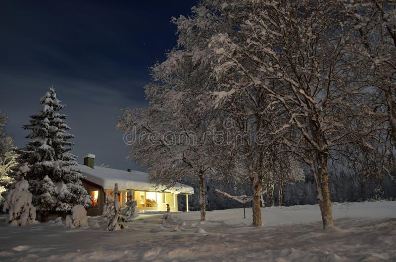 在树的大雪和房子在圣诞夜 免版税库存照片