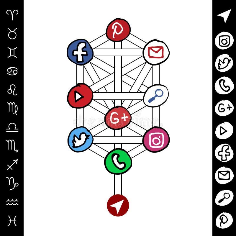 在树的手拉的社会媒介发行结构 向量例证