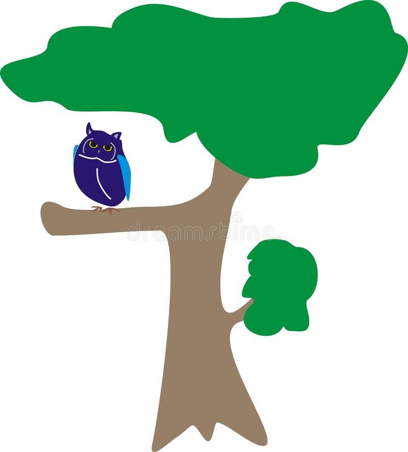 在树的猫头鹰蓝色鸟动物 库存图片