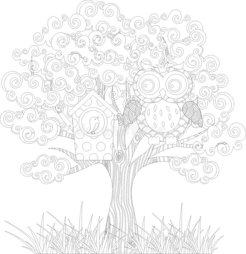 在树的猫头鹰 皇族释放例证