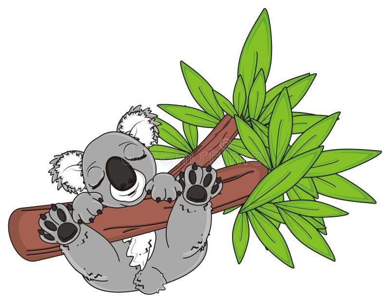 在树的睡觉考拉与绿色叶子 库存例证