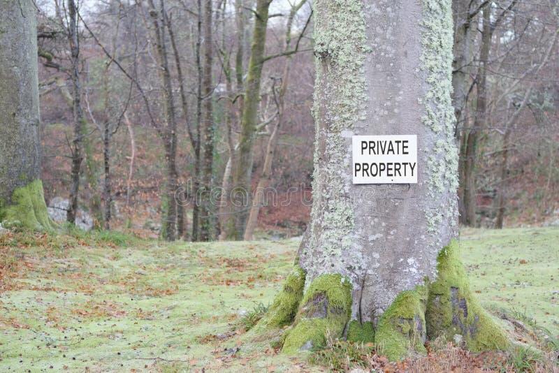 在树的私有财产标志在国家土地财产 免版税库存图片
