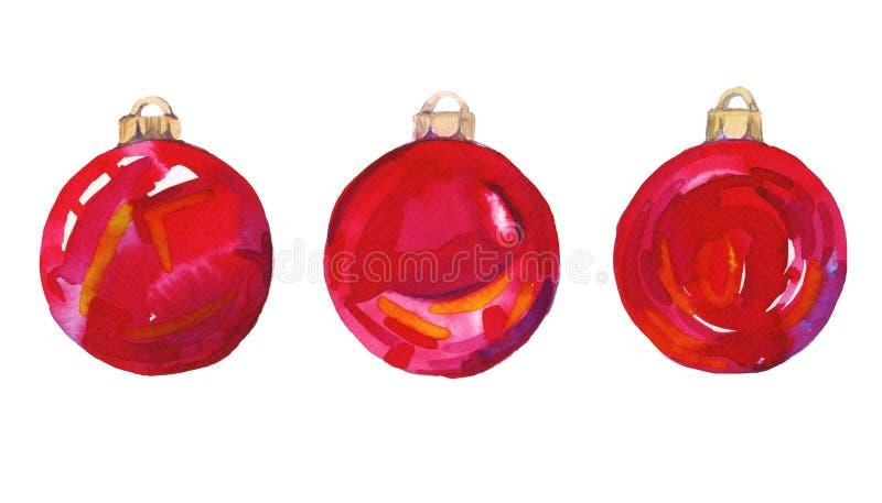 在树的色的圣诞节球 额嘴装饰飞行例证图象其纸部分燕子水彩 查出 库存例证