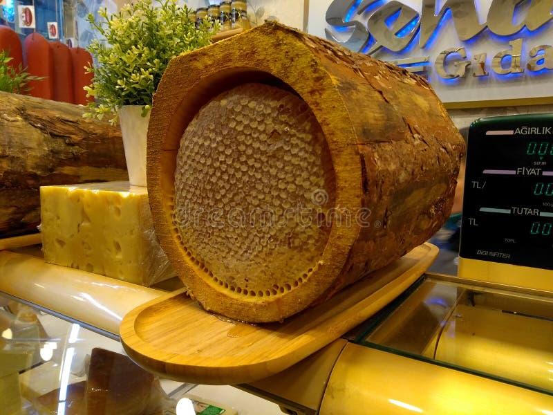 在树皮的金黄蜂蜜,树蜂蜜 免版税库存图片