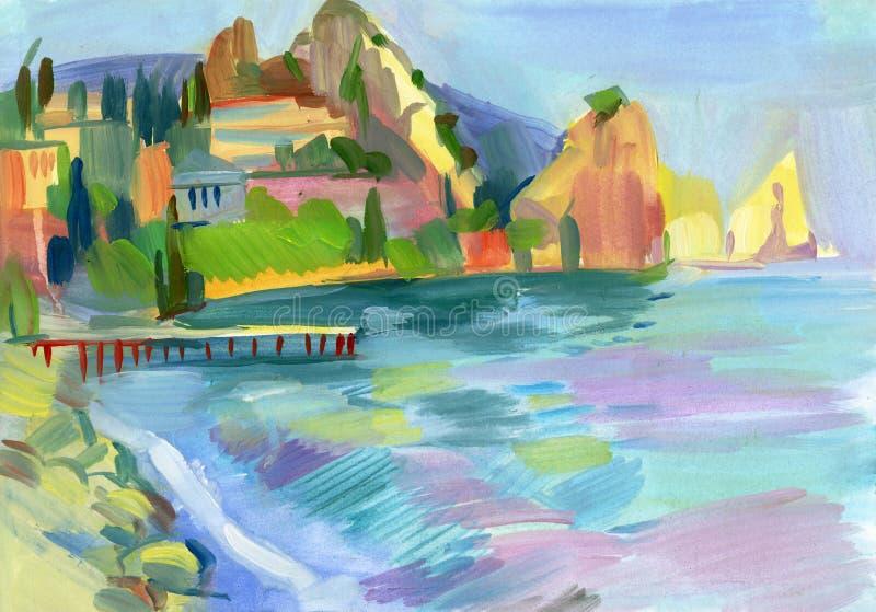在树胶水彩画颜料的克里米亚半岛草图 向量例证