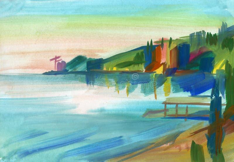 在树胶水彩画颜料的克里米亚半岛草图 库存例证