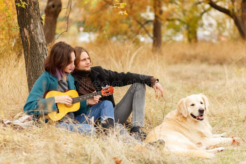 在树附近的秋天公园一年轻加上狗,弹吉他的女孩 库存照片