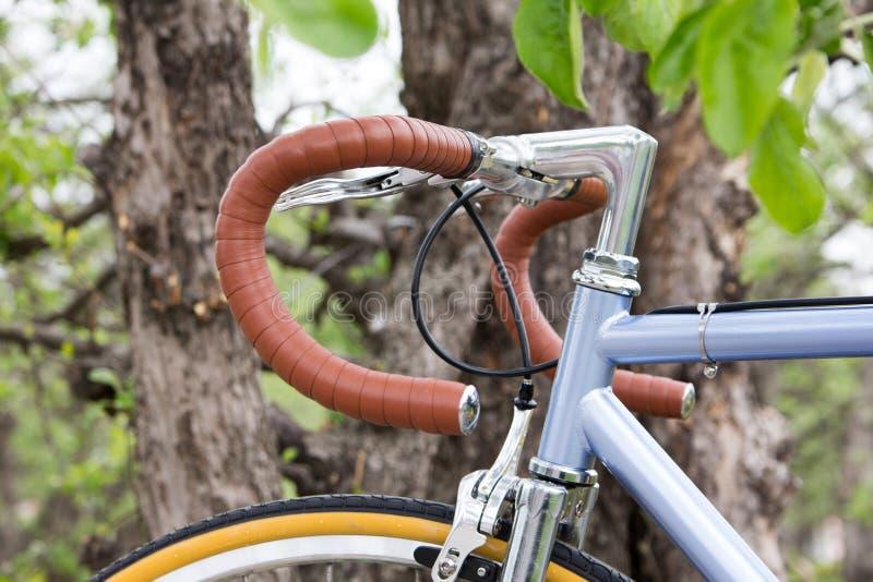 在树附近的自行车 方向盘自行车特写镜头 户外 免版税库存照片