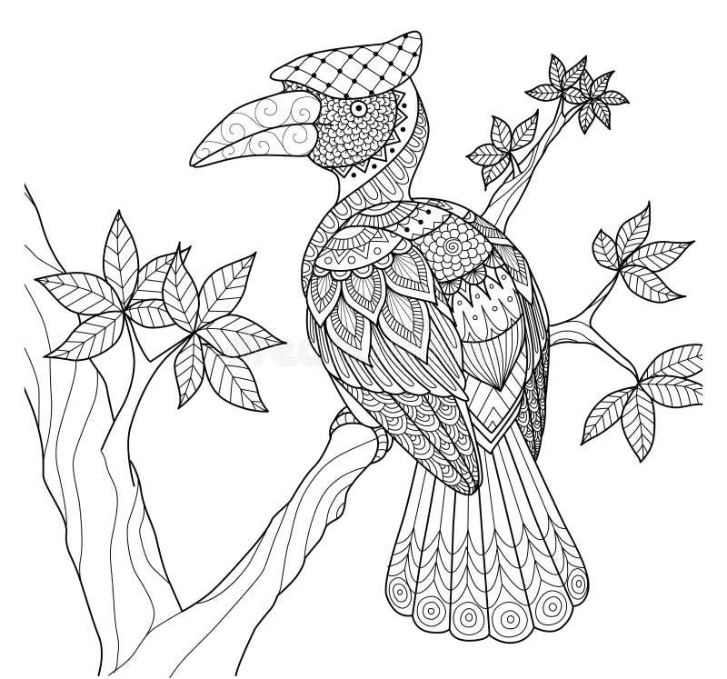 在树zentangle设计的犀鸟鸟彩图和其他装饰的 库存例证