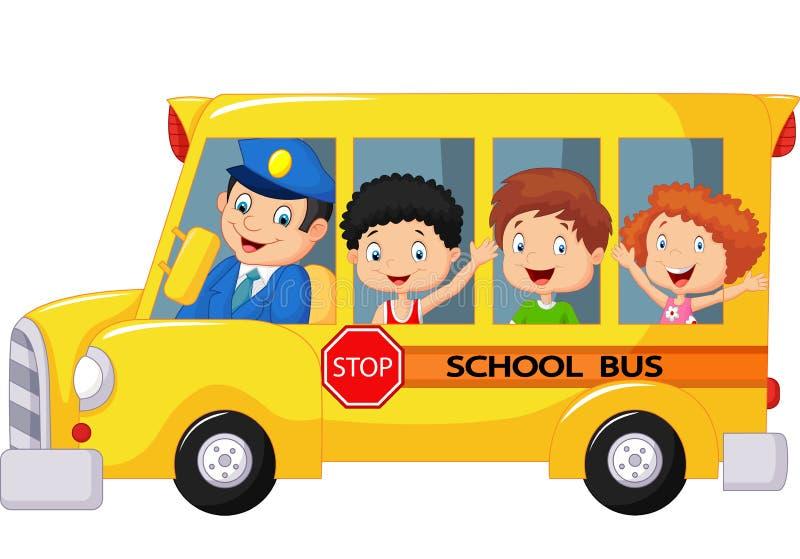 在校车的愉快的儿童动画片 库存例证