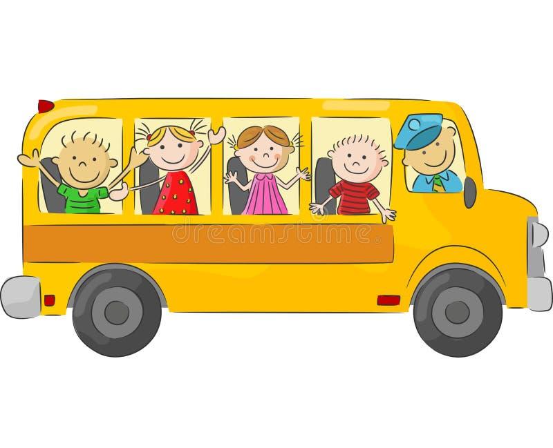在校车的愉快的儿童动画片 向量例证