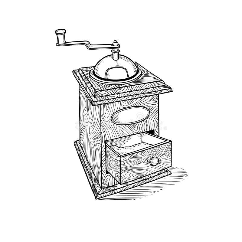 在样式板刻剪影的葡萄酒手磨咖啡器得出的传染媒介 古老欧洲木厨房器物为 皇族释放例证