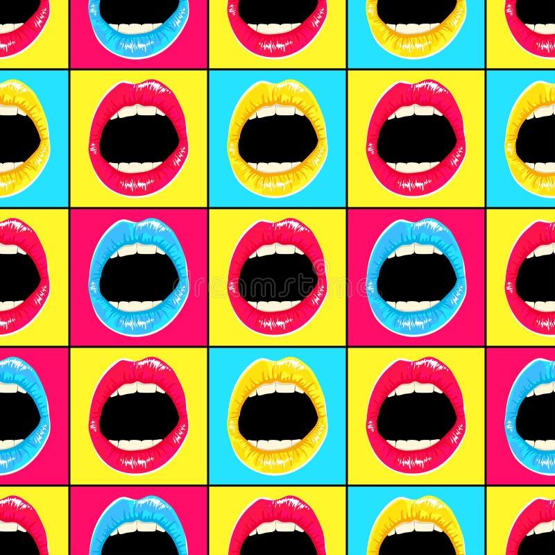 在样式流行艺术的手拉的样式与五颜六色的嘴唇和牙 向量例证