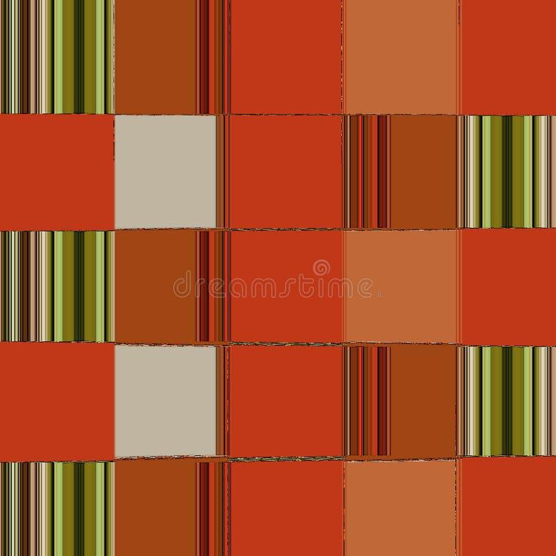 在样式的抽象在桔子和绿色的正方形卡片的或横幅 向量例证