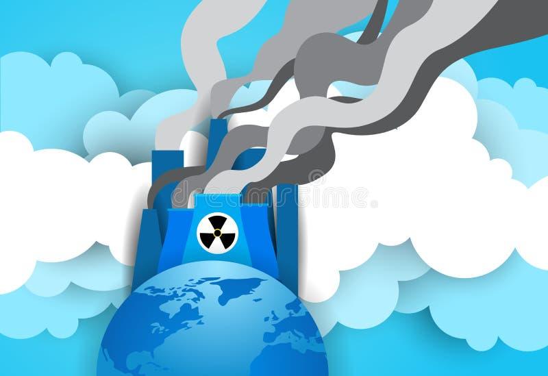 在核能厂或工厂的地球地球有抽烟的拖曳和管子背景 向量例证