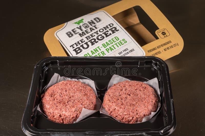 在根据的肉类加工厂之外两个小馅饼汉堡包裹  免版税库存照片