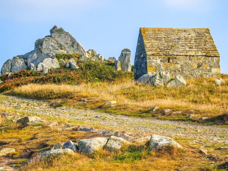 在根西岛海岛上的海岸 图库摄影
