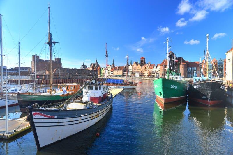 在格但斯克停泊的老fishboats,波兰 库存图片