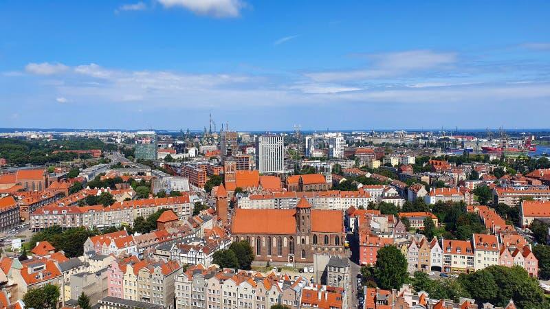 在格但斯克,波兰的顶视图 免版税库存图片